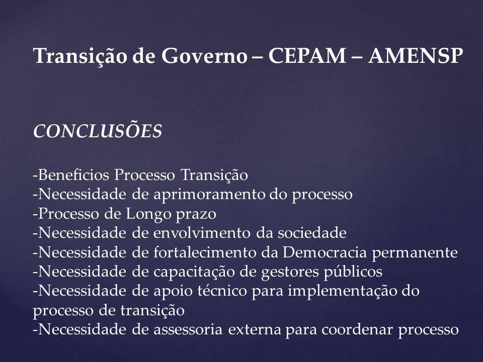 Transição de Governo – CEPAM – AMENSP