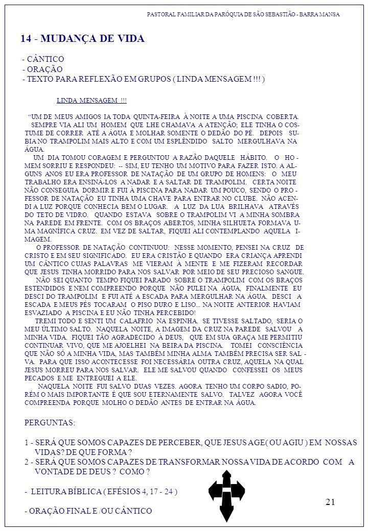 PASTORAL FAMILIAR DA PARÓQUIA DE SÃO SEBASTIÃO - BARRA MANSA