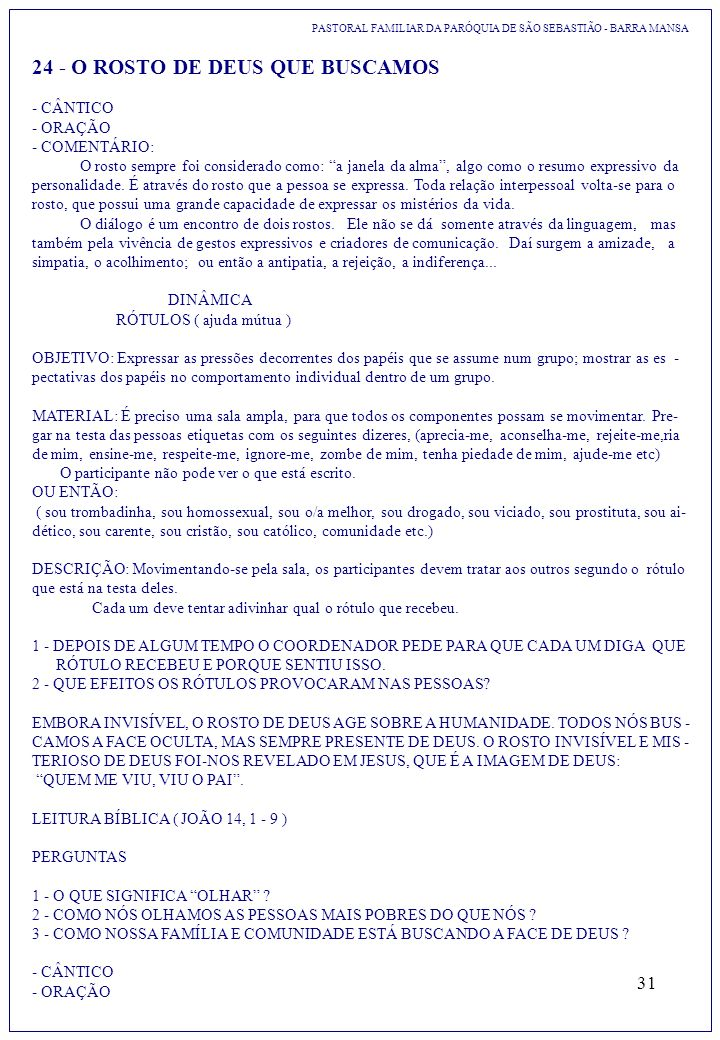 24 - O ROSTO DE DEUS QUE BUSCAMOS
