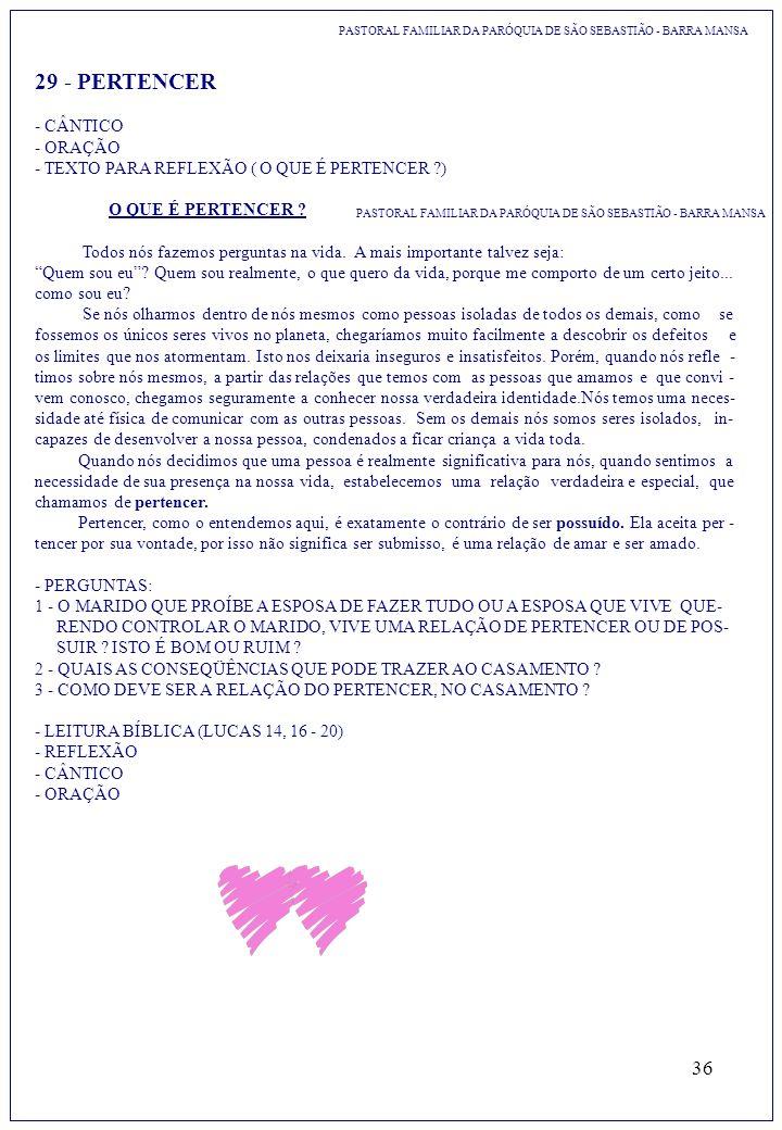 29 - PERTENCER - CÂNTICO - ORAÇÃO