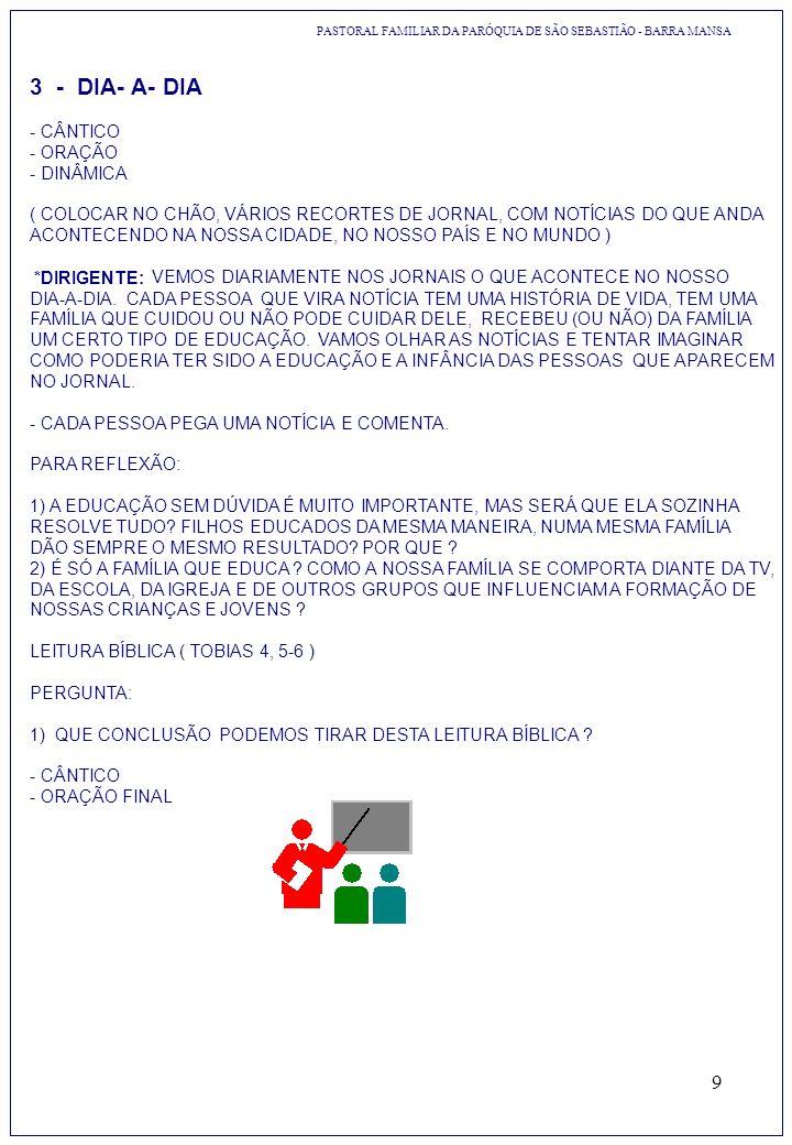 3 - DIA- A- DIA - CÂNTICO - ORAÇÃO - DINÂMICA