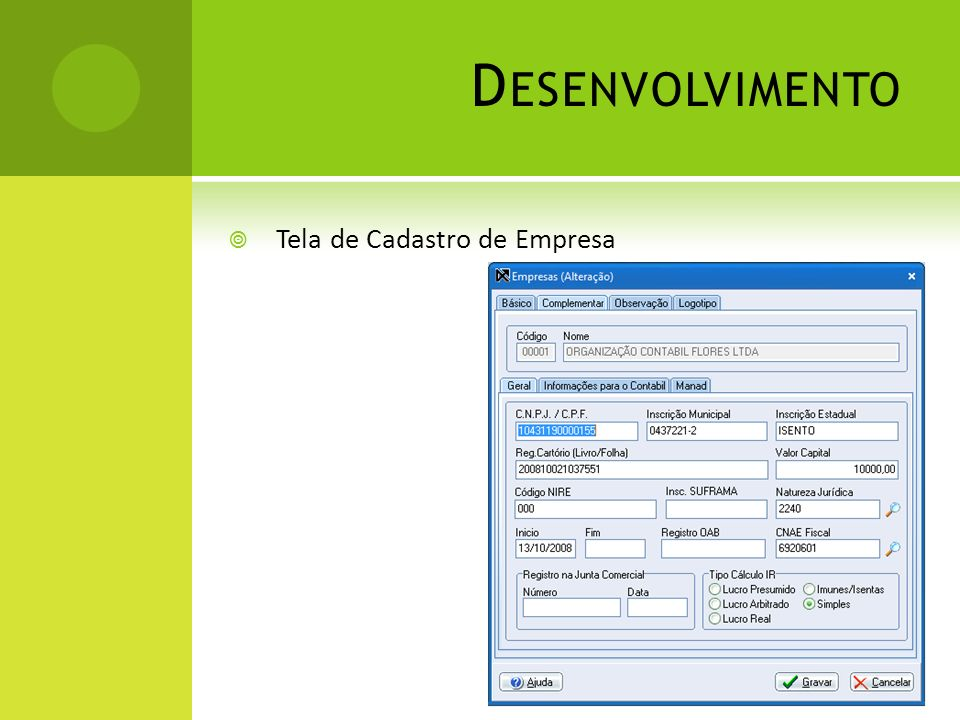 Desenvolvimento Tela de Cadastro de Empresa