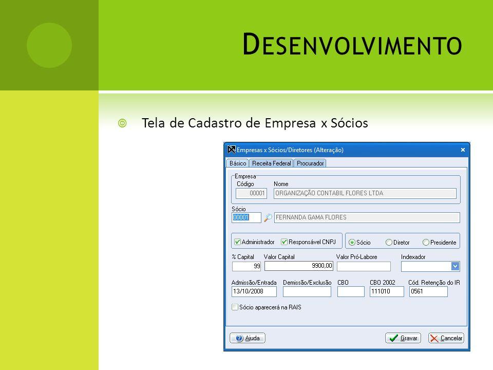 Desenvolvimento Tela de Cadastro de Empresa x Sócios