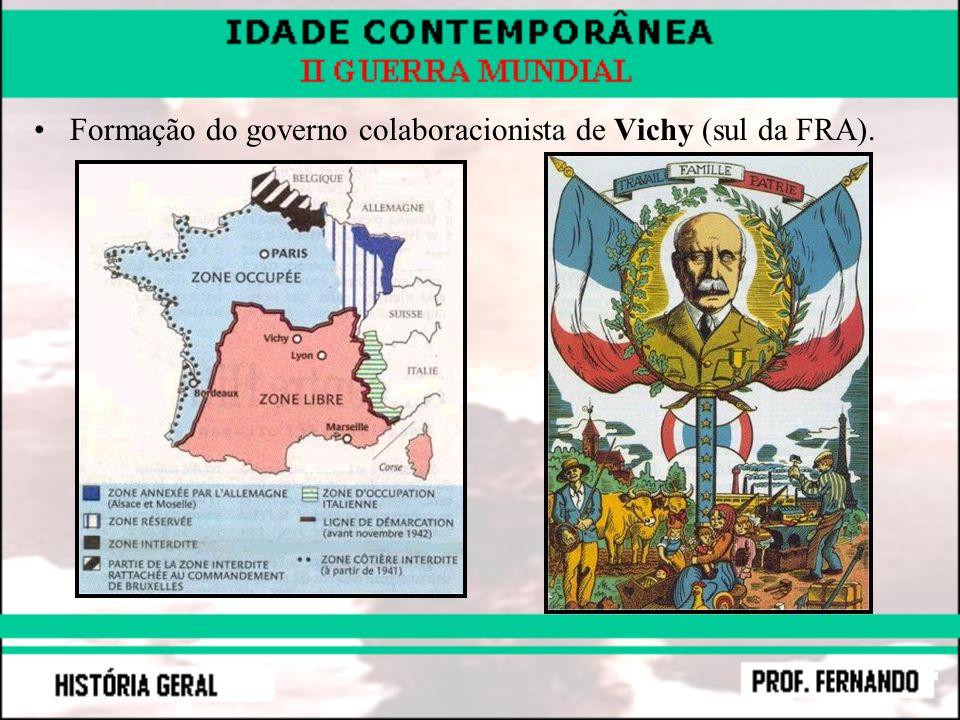 Formação do governo colaboracionista de Vichy (sul da FRA).