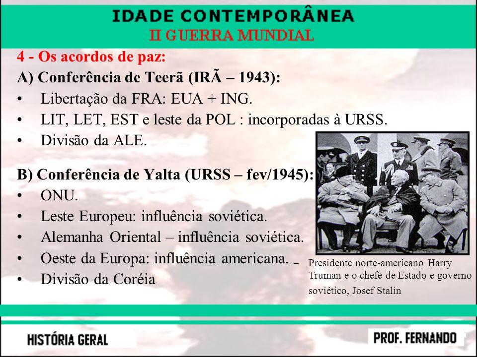 A) Conferência de Teerã (IRÃ – 1943): Libertação da FRA: EUA + ING.