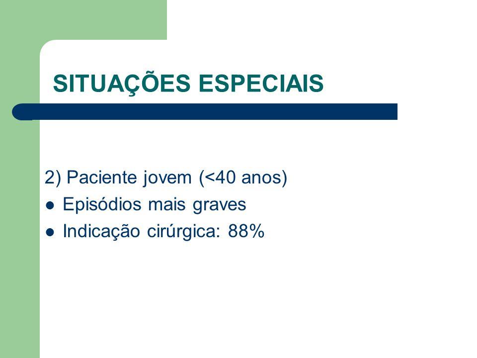 SITUAÇÕES ESPECIAIS 2) Paciente jovem (<40 anos)