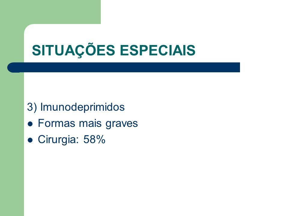 SITUAÇÕES ESPECIAIS 3) Imunodeprimidos Formas mais graves