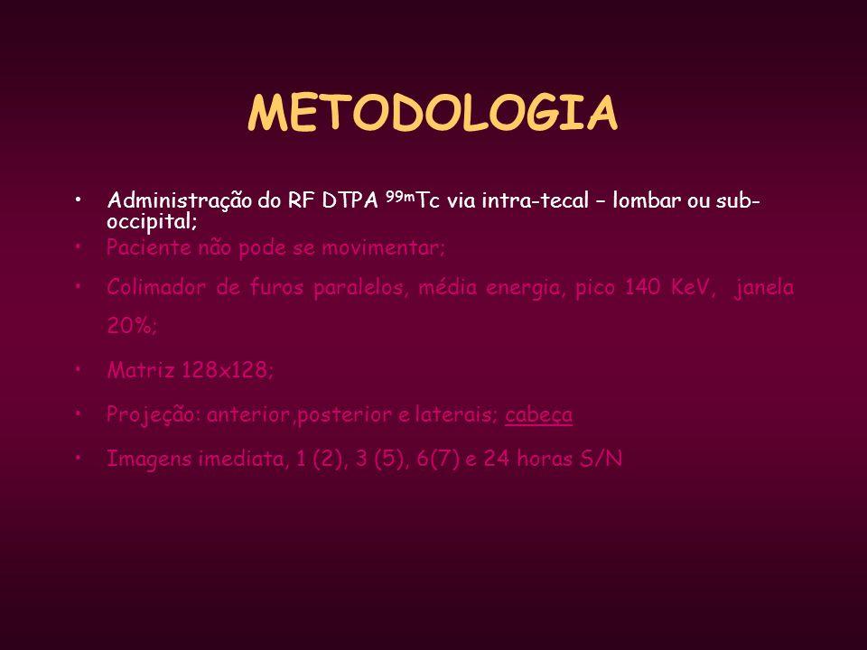 METODOLOGIA Administração do RF DTPA 99mTc via intra-tecal – lombar ou sub-occipital; Paciente não pode se movimentar;