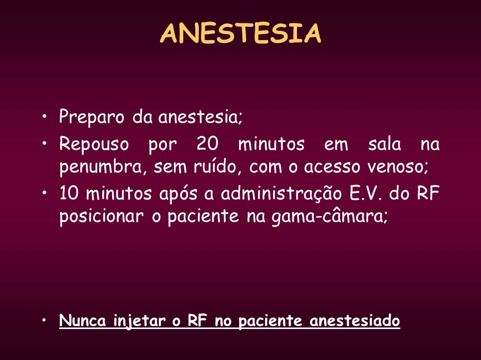 ANESTESIA Preparo da anestesia;