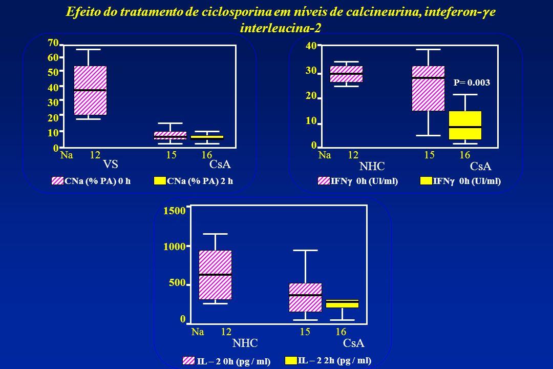 Efeito do tratamento de ciclosporina em níveis de calcineurina, inteferon-g e interleucina-2