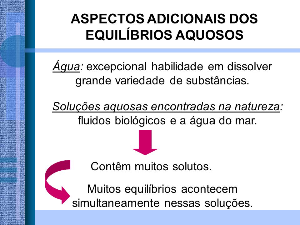 ASPECTOS ADICIONAIS DOS EQUILÍBRIOS AQUOSOS