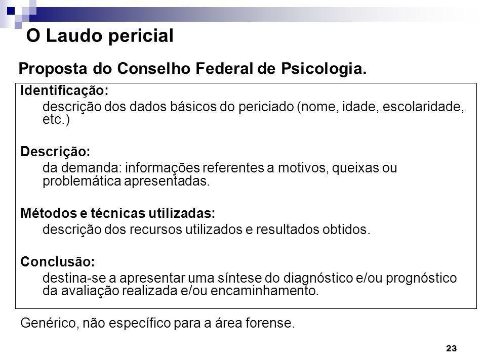 O Laudo pericial Proposta do Conselho Federal de Psicologia.