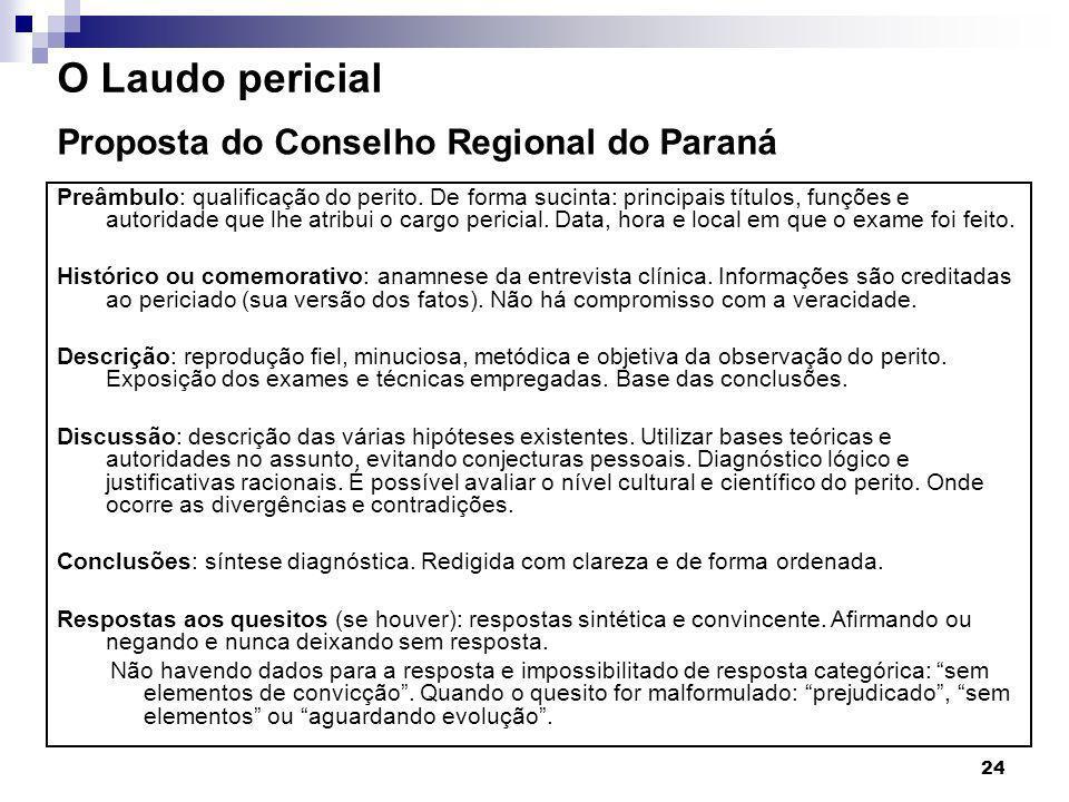 O Laudo pericial Proposta do Conselho Regional do Paraná