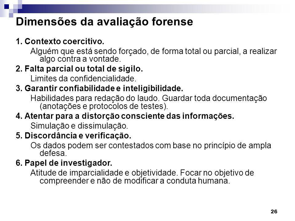 Dimensões da avaliação forense