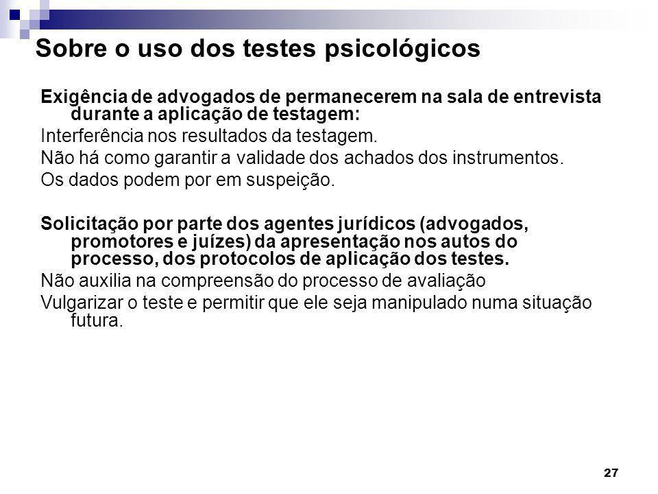 Sobre o uso dos testes psicológicos