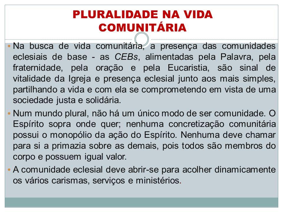 PLURALIDADE NA VIDA COMUNITÁRIA