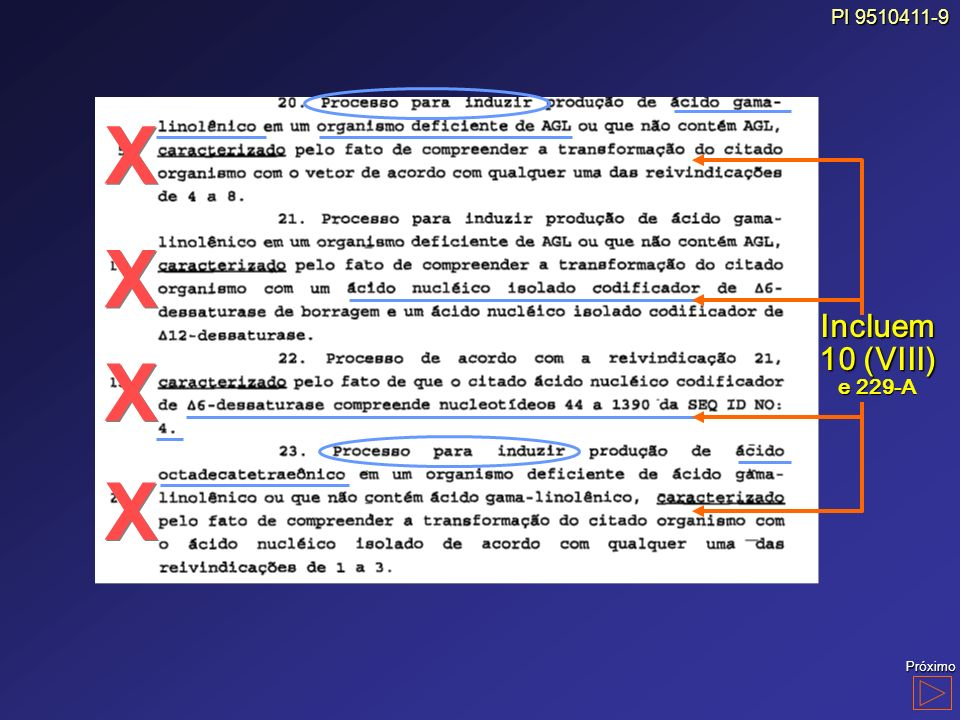 PI 9510411-9 Incluem 10 (VIII) e 229-A X Próximo