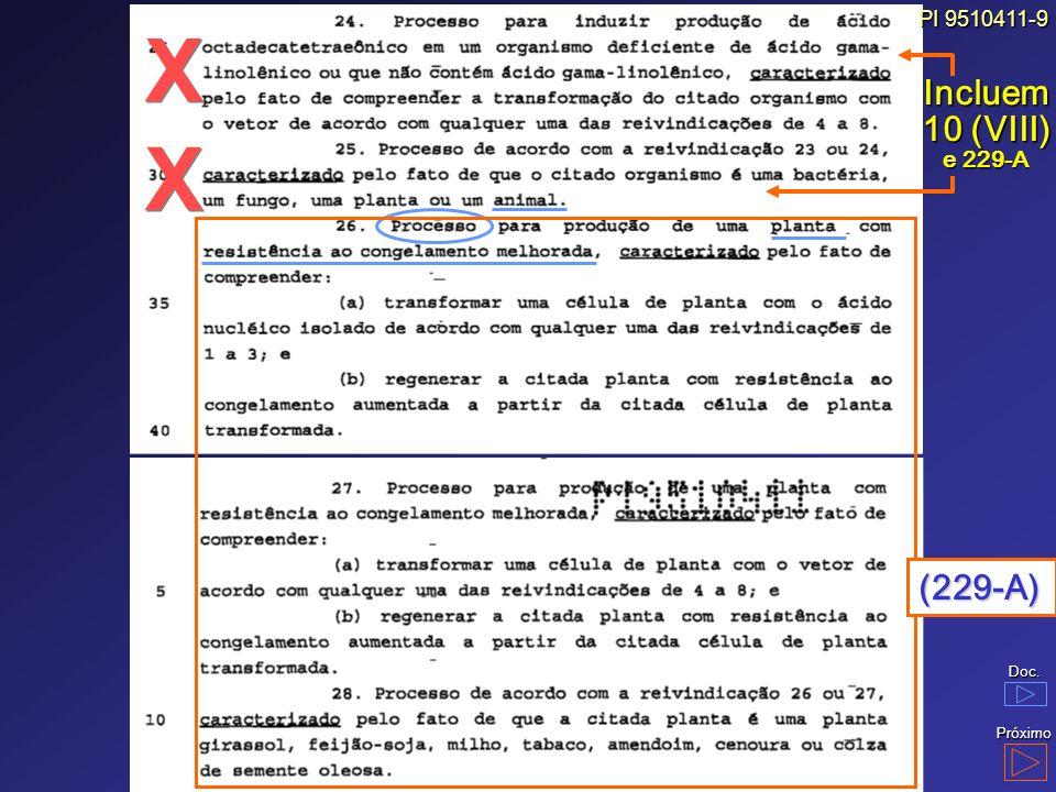 PI 9510411-9 Incluem10 (VIII) e 229-A X (229-A) Doc. Próximo