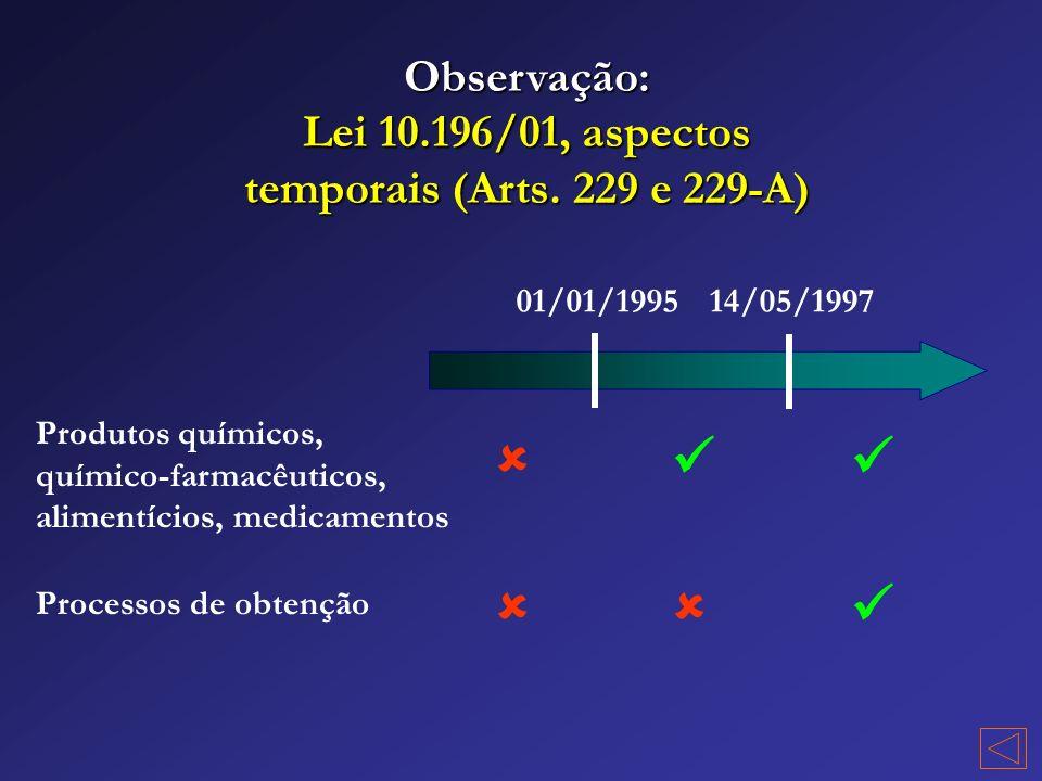 Lei 10.196/01, aspectos temporais (Arts. 229 e 229-A)