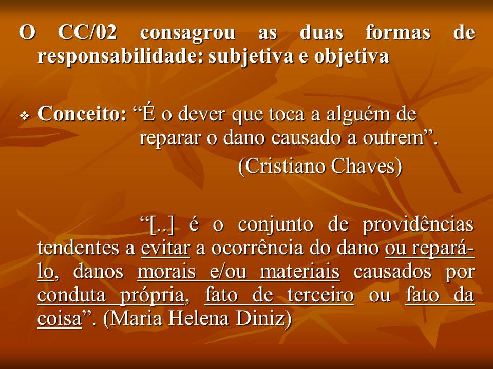 O CC/02 consagrou as duas formas de responsabilidade: subjetiva e objetiva