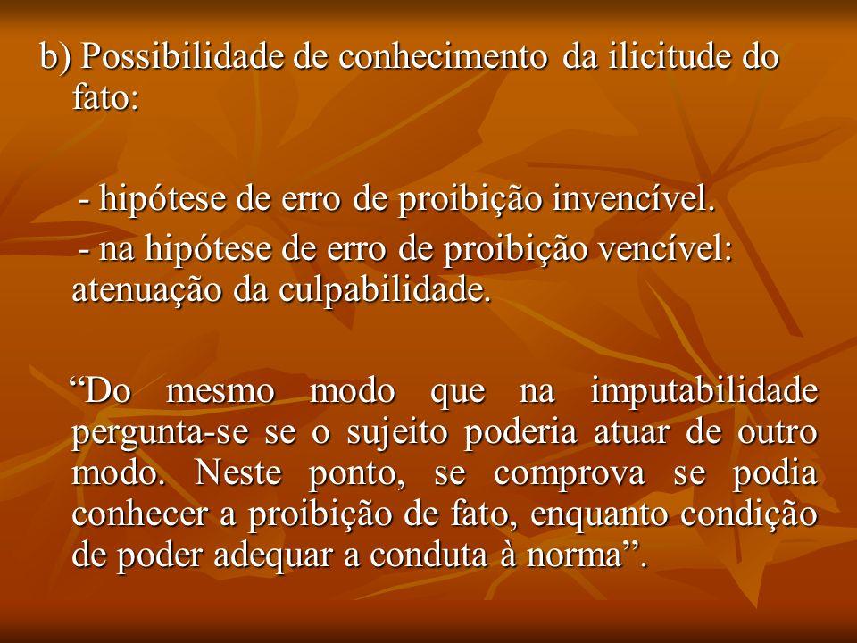 b) Possibilidade de conhecimento da ilicitude do fato: