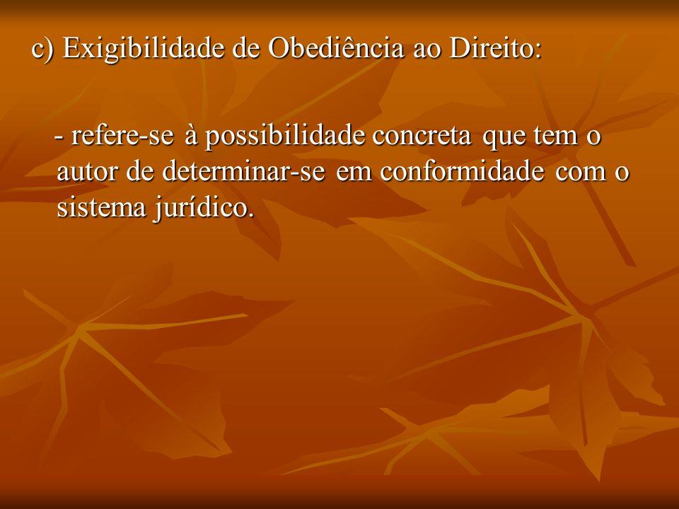 c) Exigibilidade de Obediência ao Direito: