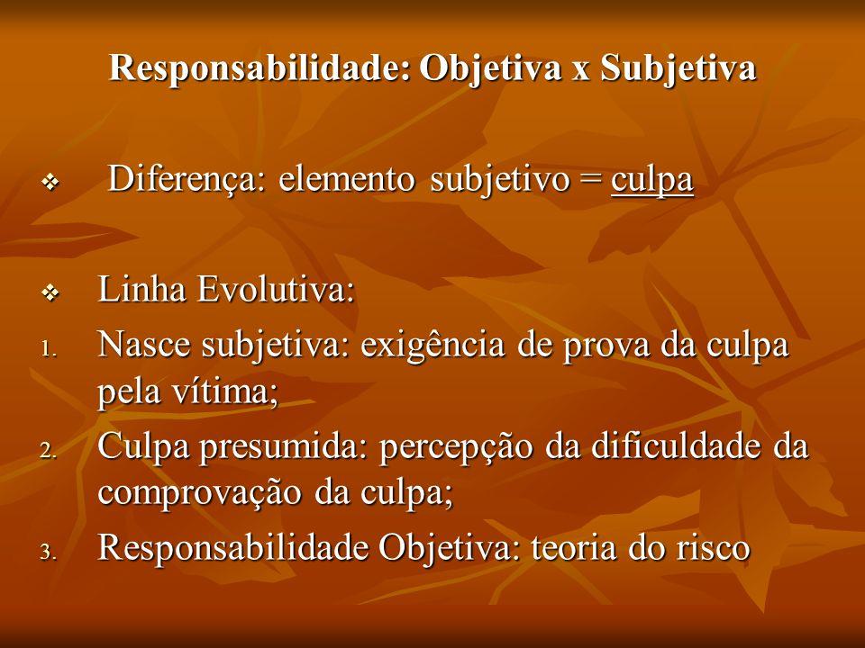 Responsabilidade: Objetiva x Subjetiva