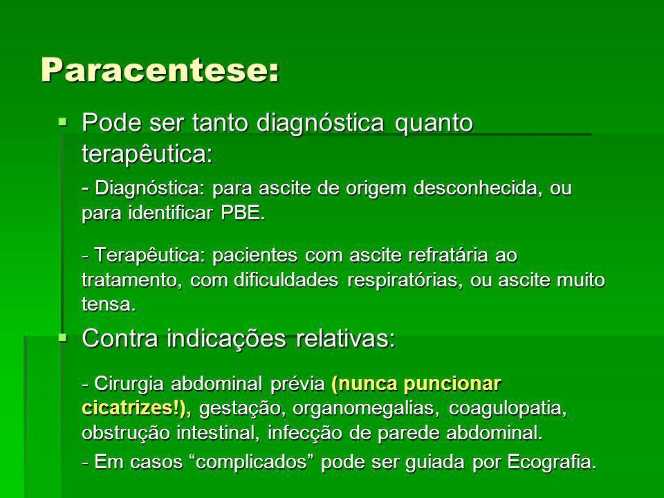 Paracentese: Pode ser tanto diagnóstica quanto terapêutica:
