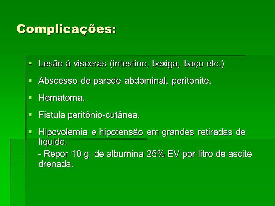 Complicações: Lesão à visceras (intestino, bexiga, baço etc.)