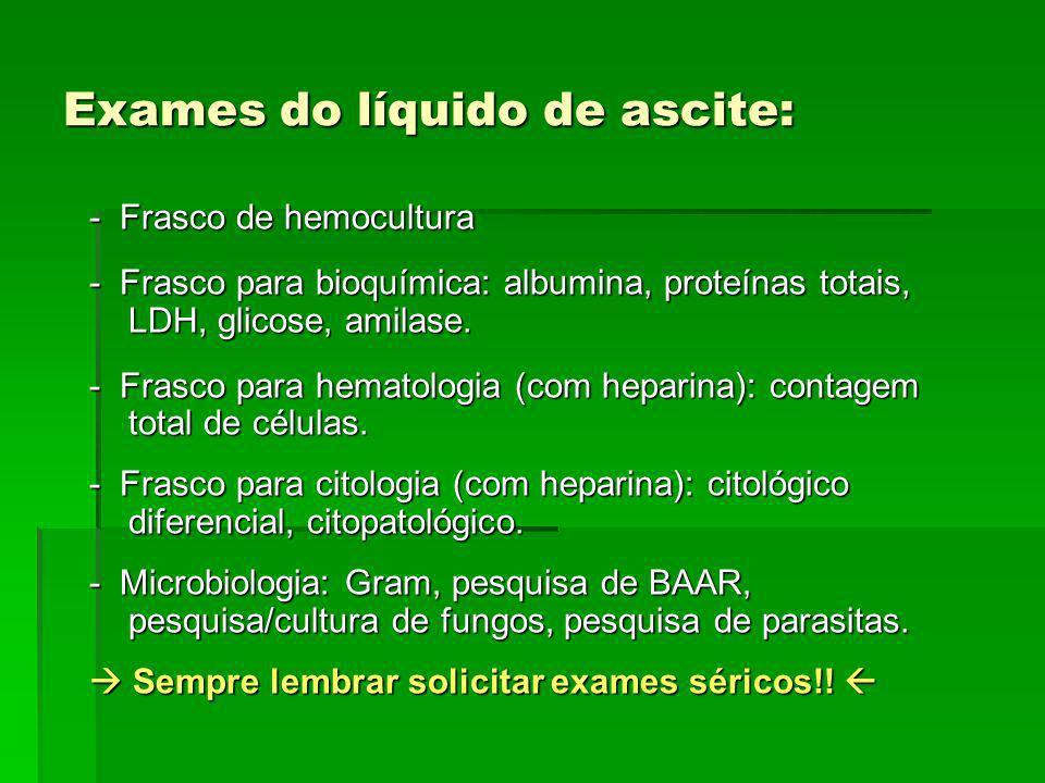Exames do líquido de ascite: