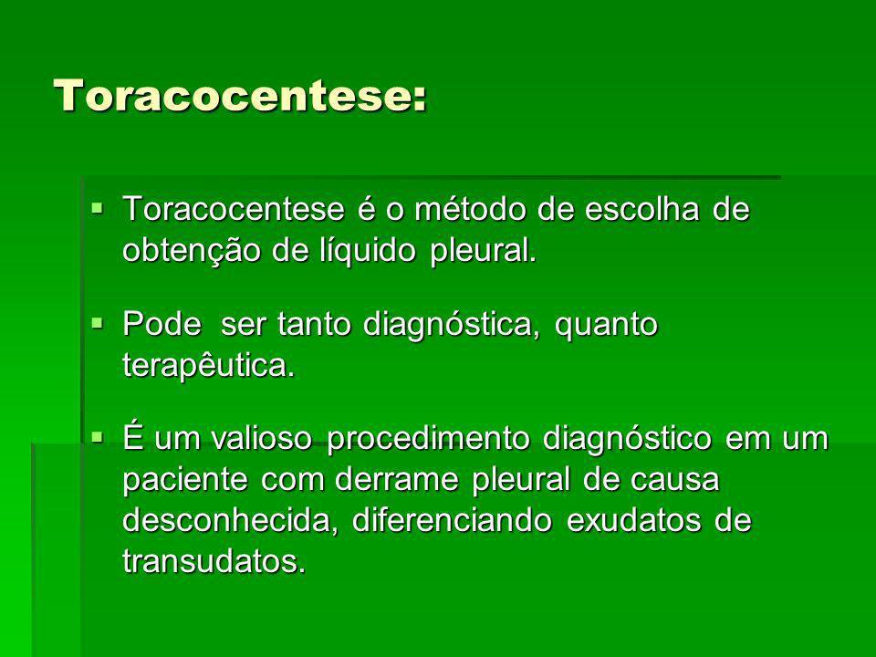 Toracocentese: Toracocentese é o método de escolha de obtenção de líquido pleural. Pode ser tanto diagnóstica, quanto terapêutica.