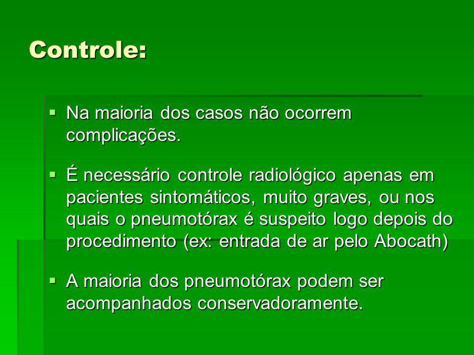 Controle: Na maioria dos casos não ocorrem complicações.