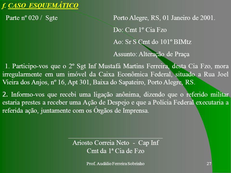 Parte nº 020 / Sgte Porto Alegre, RS, 01 Janeiro de 2001.