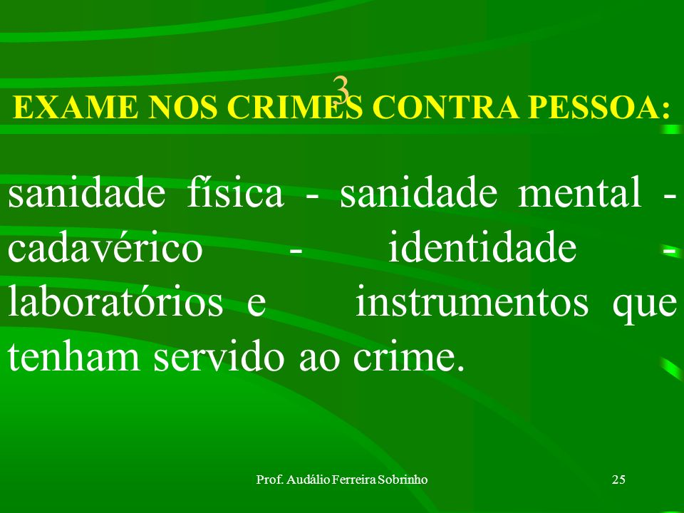 EXAME NOS CRIMES CONTRA PESSOA: