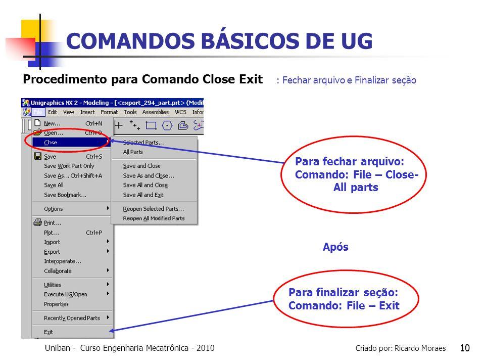 COMANDOS BÁSICOS DE UG Procedimento para Comando Close Exit