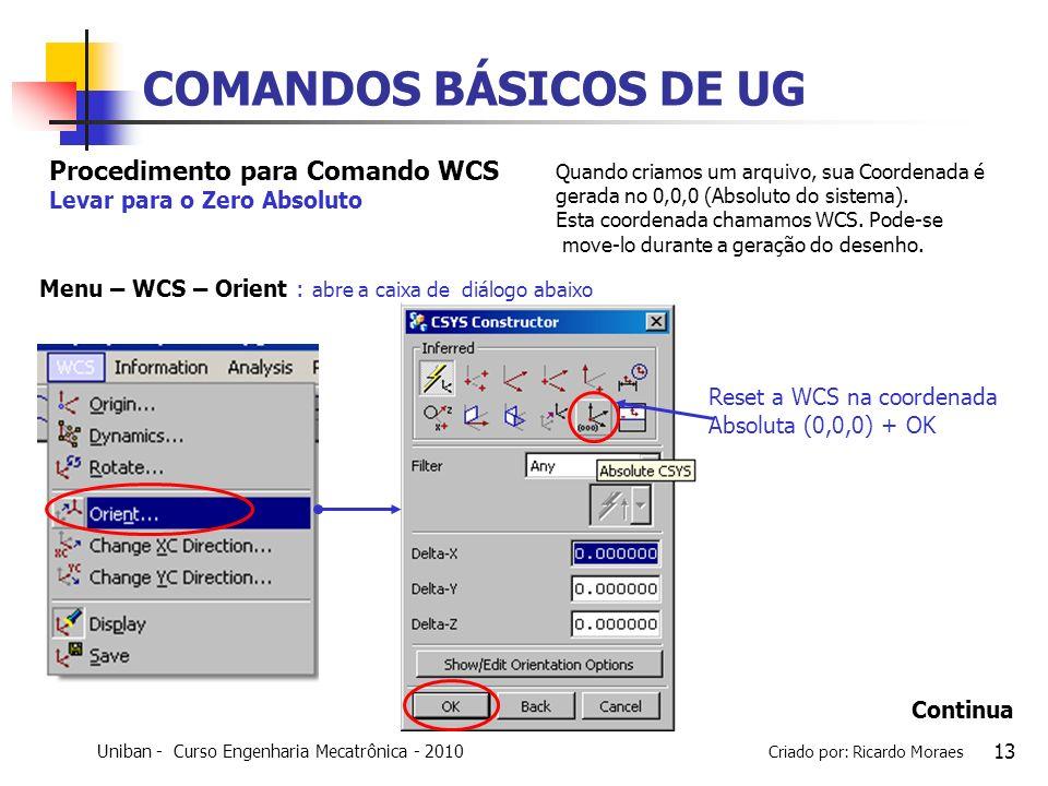 COMANDOS BÁSICOS DE UG Procedimento para Comando WCS
