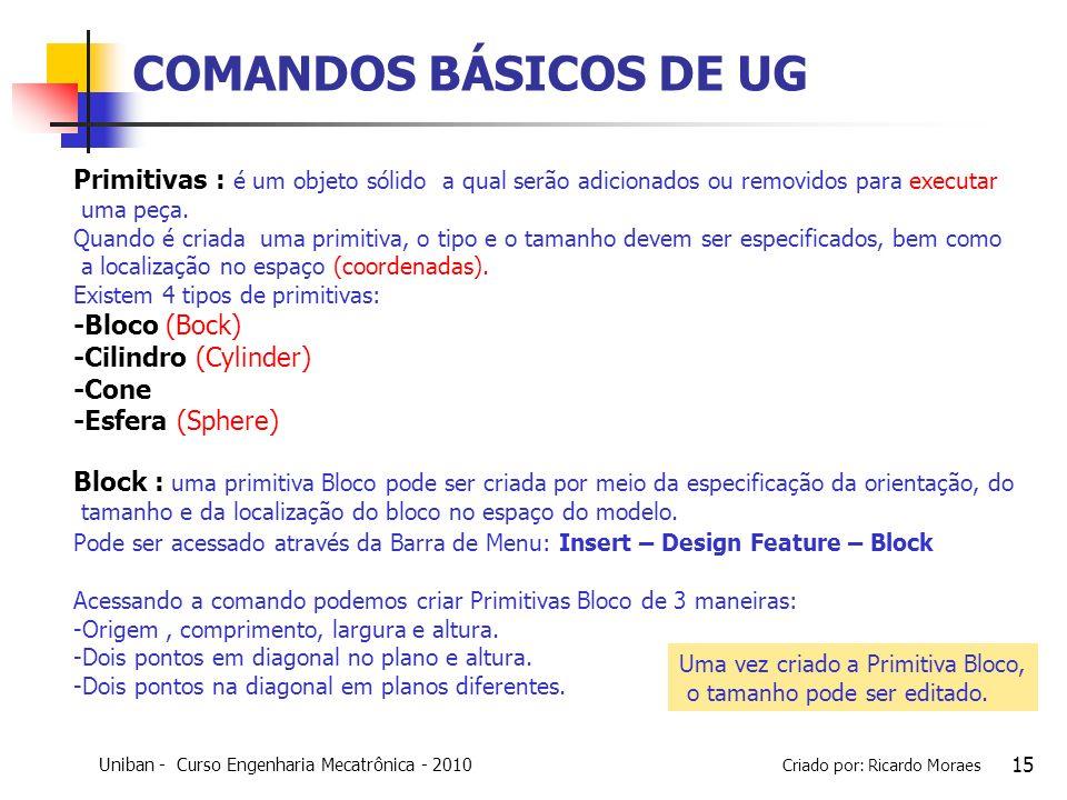COMANDOS BÁSICOS DE UG Primitivas : é um objeto sólido a qual serão adicionados ou removidos para executar.