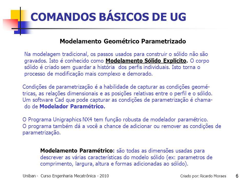 COMANDOS BÁSICOS DE UG Modelamento Geométrico Parametrizado