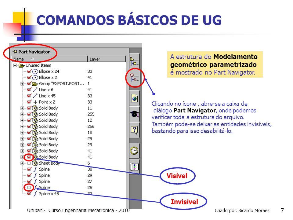 COMANDOS BÁSICOS DE UG A estrutura do Modelamento