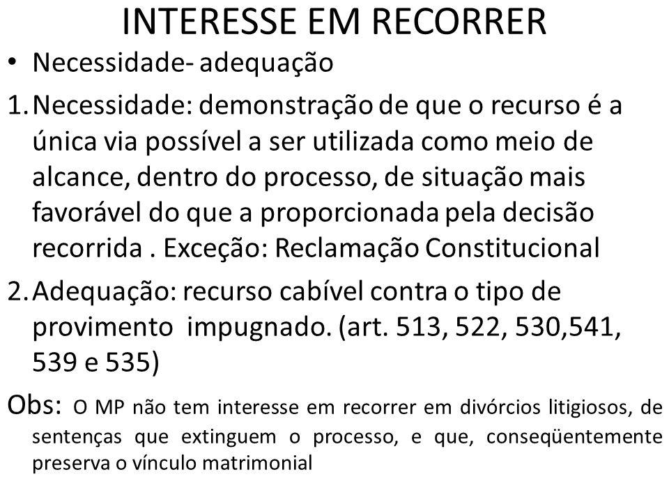 INTERESSE EM RECORRER Necessidade- adequação