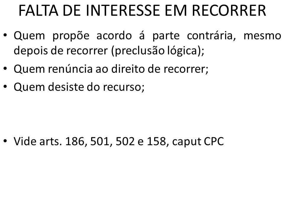 FALTA DE INTERESSE EM RECORRER