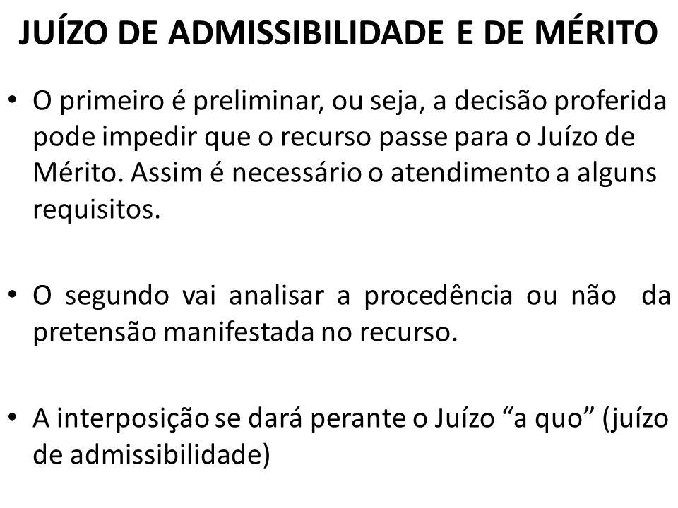 JUÍZO DE ADMISSIBILIDADE E DE MÉRITO