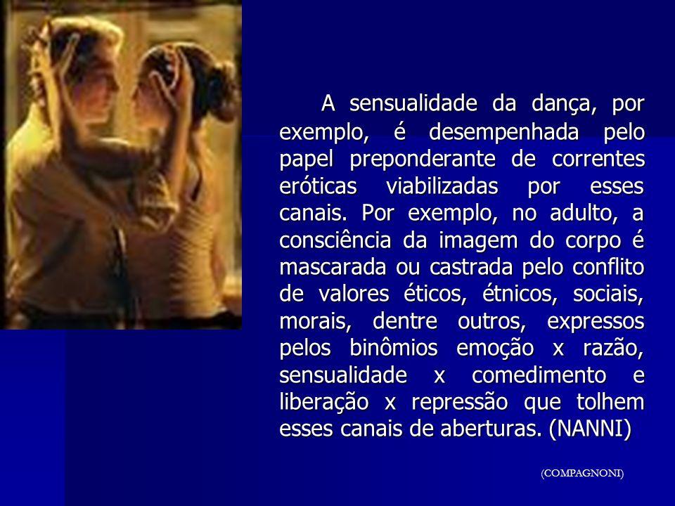 A sensualidade da dança, por exemplo, é desempenhada pelo papel preponderante de correntes eróticas viabilizadas por esses canais. Por exemplo, no adulto, a consciência da imagem do corpo é mascarada ou castrada pelo conflito de valores éticos, étnicos, sociais, morais, dentre outros, expressos pelos binômios emoção x razão, sensualidade x comedimento e liberação x repressão que tolhem esses canais de aberturas. (NANNI)