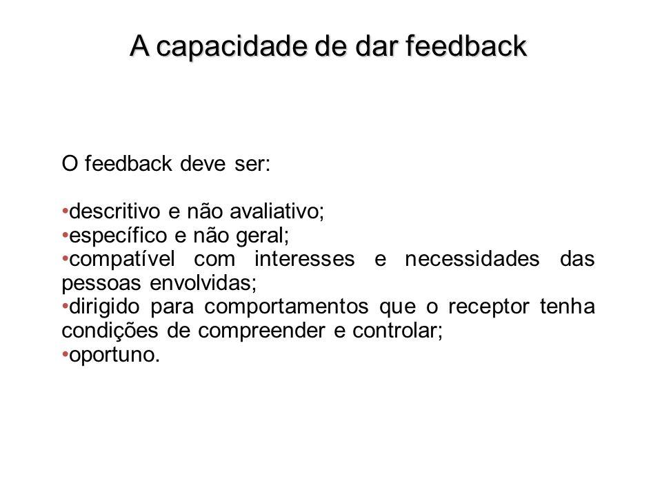 A capacidade de dar feedback