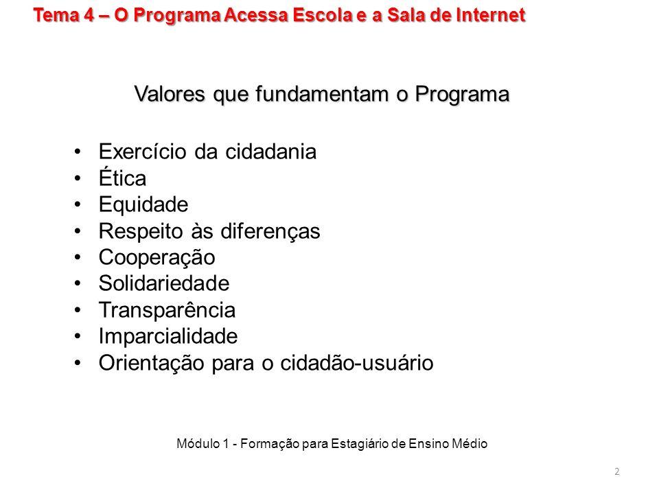 Valores que fundamentam o Programa Exercício da cidadania Ética