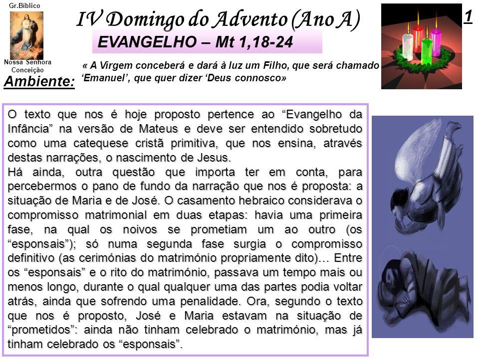 1 EVANGELHO – Mt 1,18-24 Ambiente: