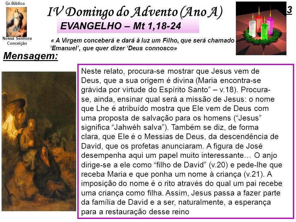 3 EVANGELHO – Mt 1,18-24 Mensagem: