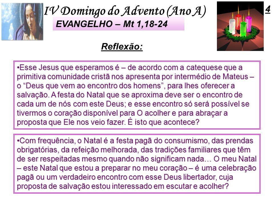 4 EVANGELHO – Mt 1,18-24 Reflexão: