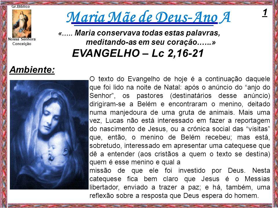 EVANGELHO – Lc 2,16-21 1 Ambiente: meditando-as em seu coração.…..»