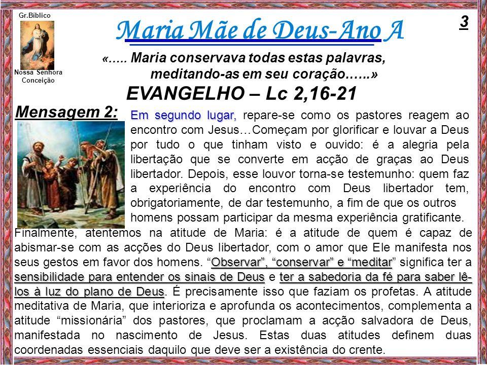 EVANGELHO – Lc 2,16-21 3 Mensagem 2: meditando-as em seu coração.…..»